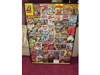 HUGE Wooden Wall Art Box Poster MARVEL 70th Comics Spiderman, Superman, Avengers, Hulk