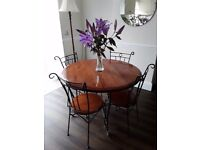Beautiful Solid Cherrywood And Cast Iron Round Table 4 Chairs