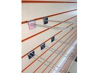 Slatwall 100 x Euro Hooks in chrome 240mm