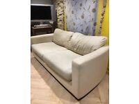 Habitat sofas, pair, cream linen, solid frames, collect norton St philip.