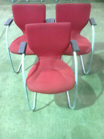 Red OrangeBox Stacking Chairs in Used Condition