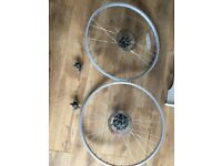 "Pair 26""disc brake wheels and callipers."