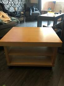 Coffee table/office shelves on castors