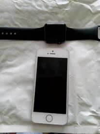 iPhone 5s and iPhone watch series 1