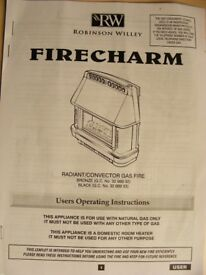 ROBINSON WILLEY - ''FIRECHARM'' - GAS FIRE - ( HARDLY USED)