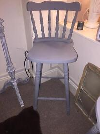 Pair of shabby chic pine chalk painted Stools French grey