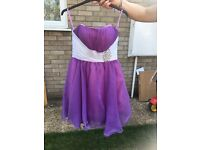 Gorgeous purple and white diamonte strapless dress, fitted bustier, stunning fit