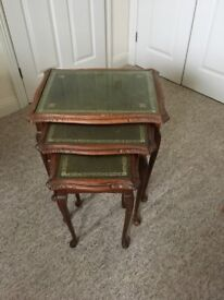 Nest of 3 tables , dark green 'leather like' top
