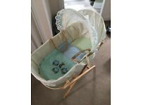 Moses basket and stand in good condotion with hand made blanket