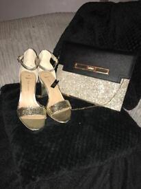 Gold glitter sandals and handbag