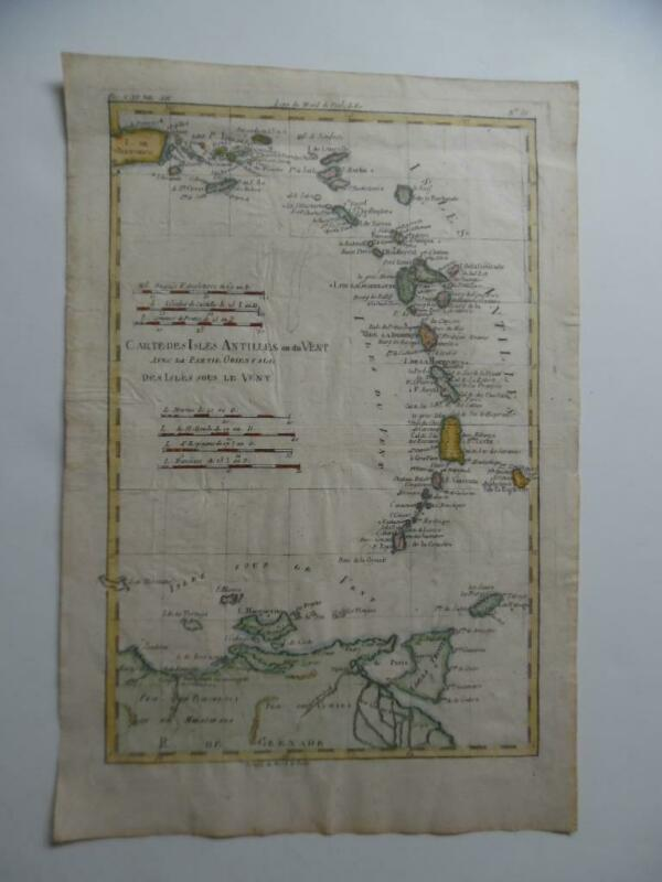c.1780 Rigobert Bonne Hand Colored Map of Caribbean Virgin Islands Puerto Rico