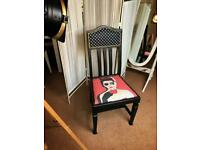 Art Nouveau and pop art chair. Vintage. Retro. Black and red.