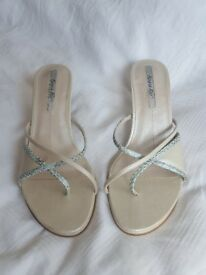 Ivory/ Cream Heeled Sandals - Made in Brasil (Beira Rio)