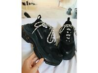 Black Distressed Balenciaga Triple S
