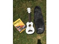White Ukulele- perfect condition- comes with carry case bag and ukulele music book
