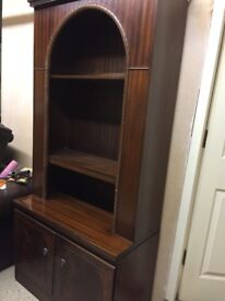 Mahogany wall unit, top and base can be separated for transport