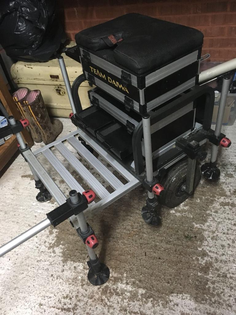 SOLD- Daiwa 300 Fishing Seat Box including separate backrest And Preston  Innovations Pole Support   in Exeter, Devon   Gumtree