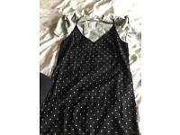 Dress, handbags & dressing gown