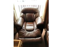 Brown leather electric recliner sofa and armchairs