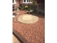 Gravel. Free to collector. Red/brown in colour. Has been removed from a 4 ft by 10 ft area.