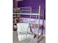 Single high sleeper bed, silver frame with single fold out futon chair and beech effect desk & shelf