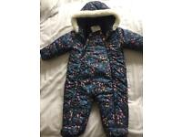 Girls Marks and Spencer's thick snow suit 9-12 mths