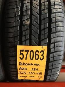 57063) 4-225/40r18 YOKOHAMA AVID S34 like new $ 460 set