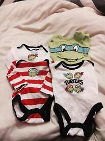 New born ninja turtle long sleeved vests