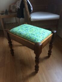 re-upholstered Stool with colorful print