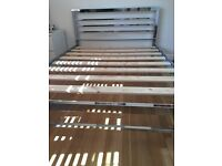 Crome metal double bed frame, 2 years old excellent condition