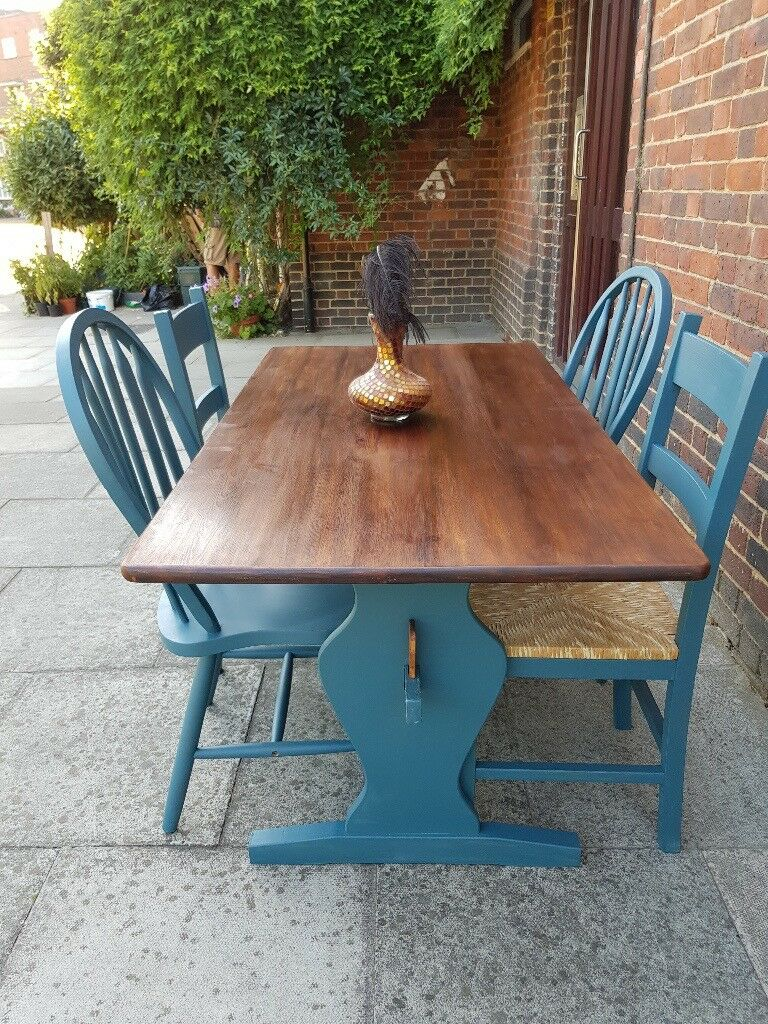 Rustic refectory kitchen dining table 4 chairs petrol blue boho mix match local delivery