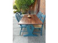 Rustic refectory kitchen/dining table + 4 chairs. Petrol Blue Boho mix & match. LOCAL DELIVERY.