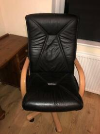 Black leather recliner desk chair