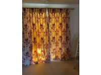 Two pairs full length lined curtains