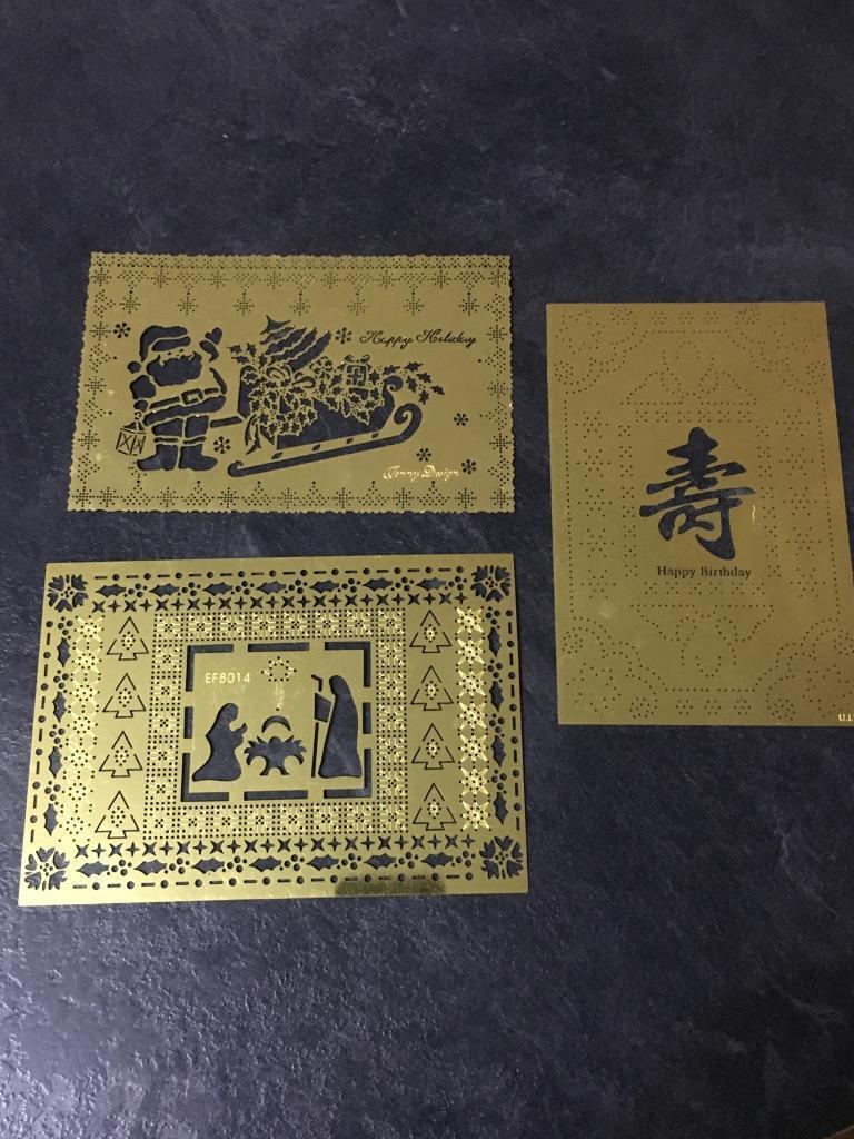 3 Metal Paper Pricking, Embossing Templates