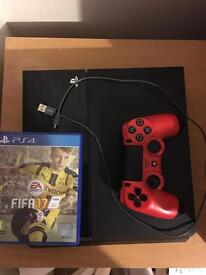 PS4 with leads, controller and Fifa 17 (500gb)