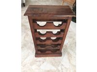 SOLID MAHOGANY 10 BOTTLES WINE RACK WITH CAST IRON DECORATIVE SIDES