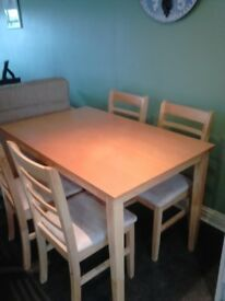 Dining Room Table with four matching chairs