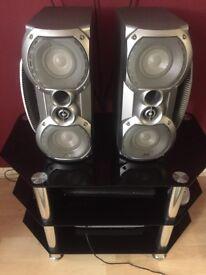 Tweeters 100 watts sub woofer 165 watts all built in this silver metallic box