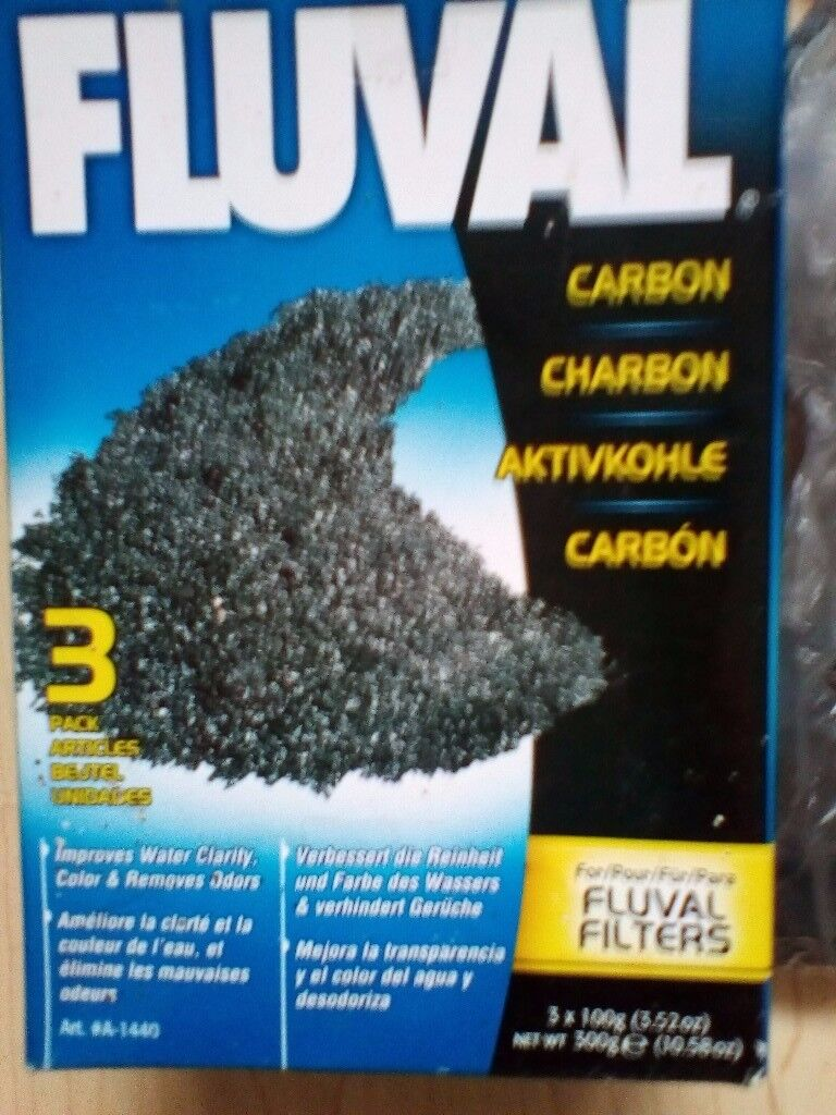 Fluval carbon filters, boxed 2 and a half sachets, approx 250g