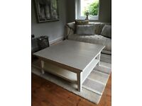 Cream square solid wood coffee table with shelf under
