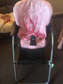 Chicco baby girl pink high chair foldable excellent condition