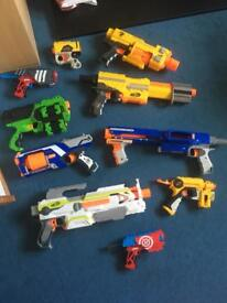Ten nerf guns with bullets