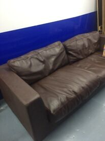 Sofa , dark brown leather , good state