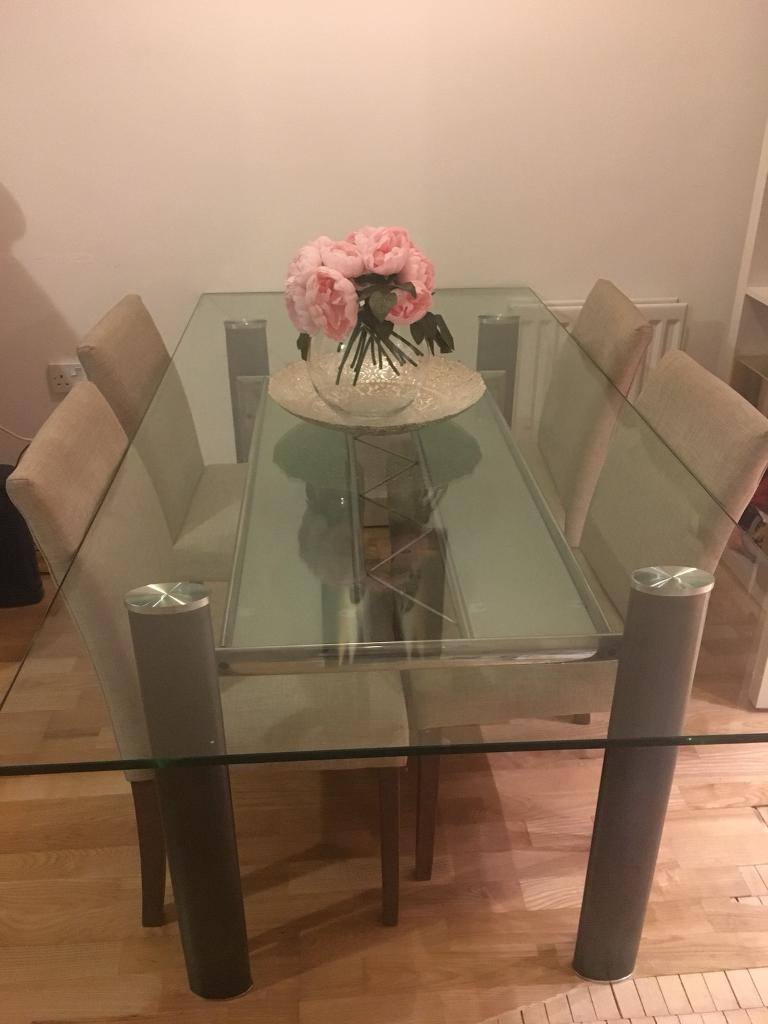 Large Glass Dining Table - seats 6