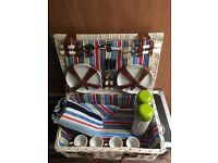 Picnic hamper set for four people including two tall flasks and a blanket (as shown in photos)