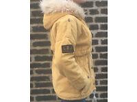 Fisherman's Yellow Fluffy Fur Lined Parka - Coat