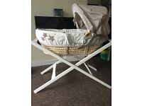 Mamas And Papas Millie and Boris Moses basket and stand for sale. Bought for £145 selling for £40