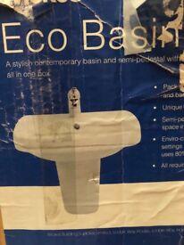Stylish contemporary bathroom basin + semi pedestal
