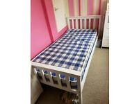 Single Bed with mattress White Wooden
